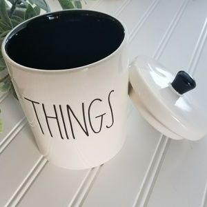 Rae Dunn THINGS Container Black Inside NEW